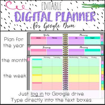 Editable Teacher Planner for Google Drive