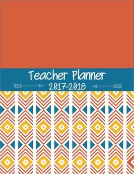 Editable Teacher Planner for High School and Middle School - Aztec Orange