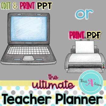 Editable Teacher Planner (in BW & Color)