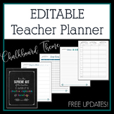 Editable Teacher Planner 2017-2018 in Chalkboard & Feathers Design