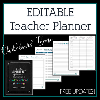 2018-2019 Chalkboard Feather Editable Teacher Planner & Binder - Free Updates!