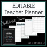 Editable Teacher Planner 2017-2018 in Chalkboard & Feather