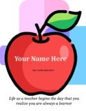 Editable Teacher Portfolio Cover Page