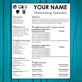 Editable Teacher Resume and Cover Letter Template- Accents