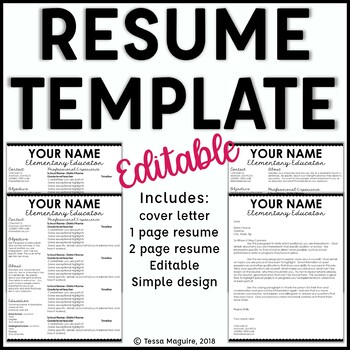Editable Teacher Resume and Cover Letter Template- Scalloped Cursive