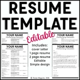 Editable Teacher Resume Template and Cover Letter Template- Scalloped Cursive