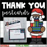 Editable Christmas Themed Teacher Thank You Postcards - Notecards
