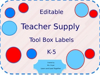 Editable Teacher Tool Box Drawer Labels