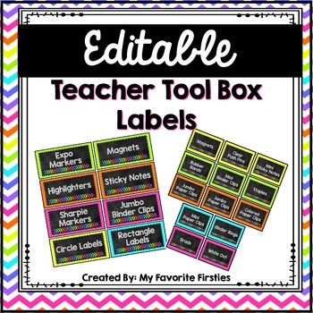 Editable Teacher Tool Box Labels {Brights & Chalkboard}