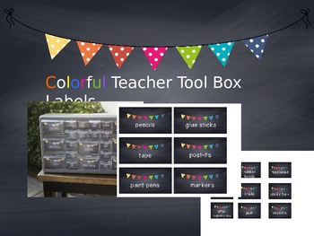 Editable Teacher Tool Box chalkboard labels