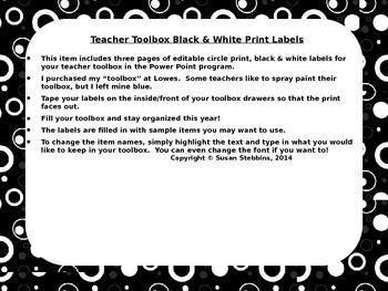Editable Teacher Toolbox Black and White Circle Print Labels