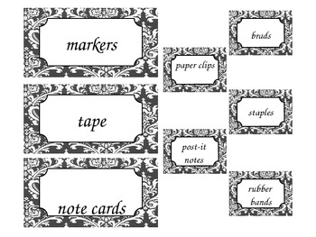 Editable Teacher Toolbox Black and White Damask Print Labels