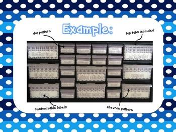 Editable Teacher Toolbox {Blue Dots & Chevron}