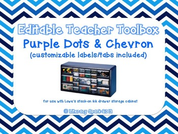 Editable Teacher Toolbox {Blue Dots & Chevron}