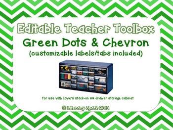 Editable Teacher Toolbox {Green Dots & Chevron}