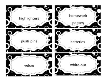 Editable Teacher Toolbox Labels-18 lg Drawer Unit w/ Blk & White Circle Design
