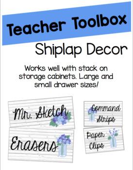 Shiplap Teacher Toolbox Labels (Editable)