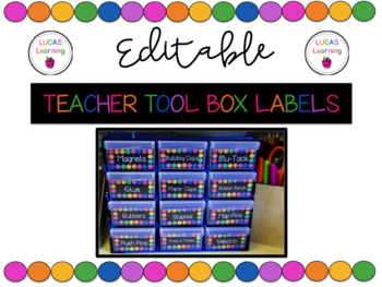 Editable Teacher Toolbox Labels