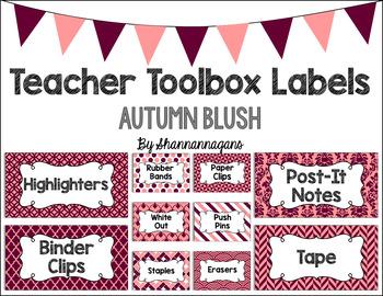 Editable Teacher Toolbox Labels - Autumn Blush