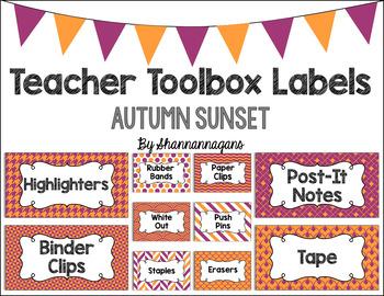 Editable Teacher Toolbox Labels - Autumn Sunset
