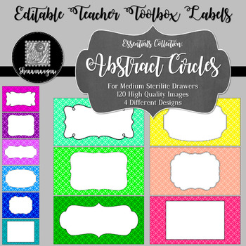 Editable Teacher Toolbox Labels - Essentials: Abstract Circles