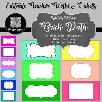 Editable Teacher Toolbox Labels - Essentials: Brick Path