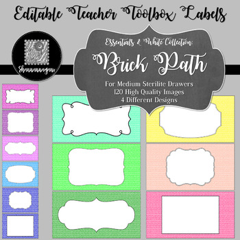 Editable Teacher Toolbox Labels - Essentials & White: Brick Path