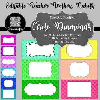Editable Teacher Toolbox Labels - Essentials: Circle Diamonds