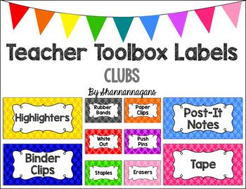 Editable Teacher Toolbox Labels - Basics: Clubs