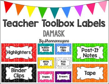 Editable Teacher Toolbox Labels - Basics: Damask