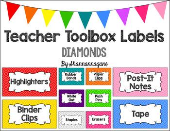Editable Teacher Toolbox Labels - Basics: Diamonds