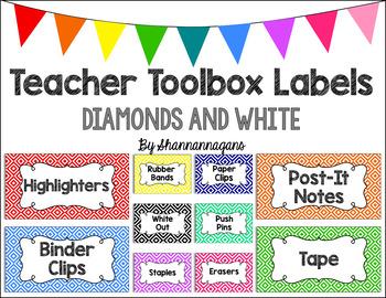 Editable Teacher Toolbox Labels - Basics: Diamonds and White