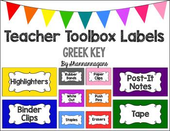 Editable Teacher Toolbox Labels - Basics: Greek Key