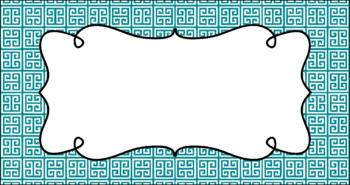 Editable Teacher Toolbox Labels - Basics: Greek Key and White
