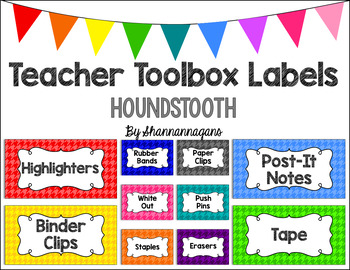 Editable Teacher Toolbox Labels - Basics: Houndstooth