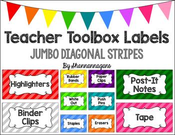 Editable Teacher Toolbox Labels - Basics: Jumbo Diagonal Stripes