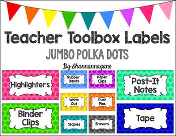 Editable Teacher Toolbox Labels - Basics: Jumbo Polka Dots