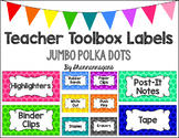 Editable Teacher Toolbox Labels - Basics: Jumbo Polka Dots