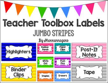 Editable Teacher Toolbox Labels - Basics: Jumbo Stripes
