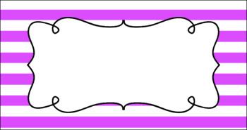 Editable Teacher Toolbox Labels - Basics: Jumbo Stripes and White