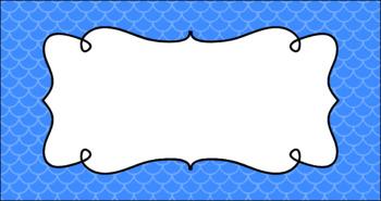 Editable Teacher Toolbox Labels - Basics: Mermaid (Scalloped)
