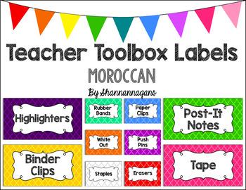 Editable Teacher Toolbox Labels - Basics: Moroccan