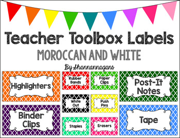 Editable Teacher Toolbox Labels - Basics: Moroccan and White