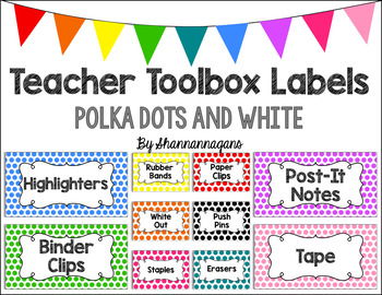 Editable Teacher Toolbox Labels - Basics: Polka Dots and White