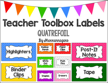 Editable Teacher Toolbox Labels - Basics: Quatrefoil