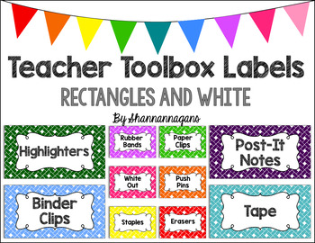 Editable Teacher Toolbox Labels - Basics: Rectangles and White