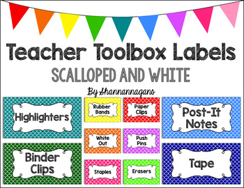 Editable Teacher Toolbox Labels - Basics: Scalloped (Mermaid) and White