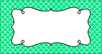 Editable Teacher Toolbox Labels - Basics: Scalloped (Mermaid) and White