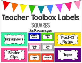 Editable Teacher Toolbox Labels - Basics: Squares