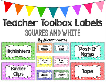 Editable Teacher Toolbox Labels - Basics: Squares and White